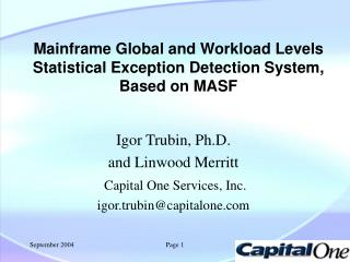 Mainframe Global and Workload Levels  Statistical Exception Detection System, Based on MASF