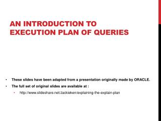 AN INTRODUCTION TO Execution plan of Queries