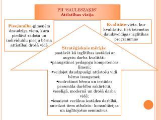 """PII  """"SAULESZAĶIS """" Attīstības vīzija"""