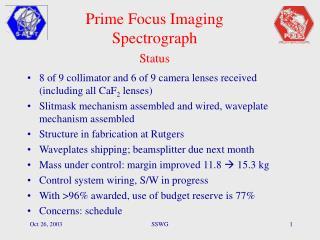 Prime Focus Imaging Spectrograph Status