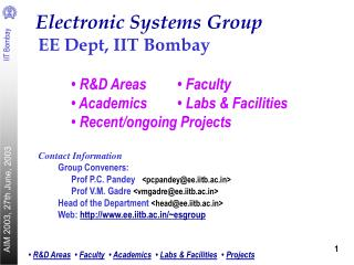 Electronic Systems Group EE Dept, IIT Bombay 	• R&D Areas	• Faculty
