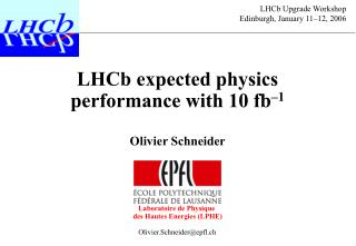 LHCb expected physics performance with 10 fb –1