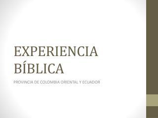 EXPERIENCIA BÍBLICA
