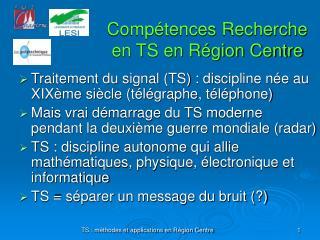 Comp�tences Recherche en TS en R�gion Centre