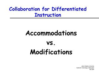 Collaboration for Differentiated Instruction