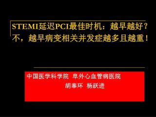 STEMI 延迟 PCI 最佳时机:越早越好? 不,越早病变相关并发症越多且越重!