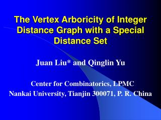 The Vertex Arboricity of Integer Distance Graph with a Special Distance Set
