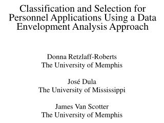 Classification and Selection for Personnel Applications Using a Data Envelopment Analysis Approach