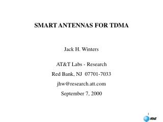 SMART ANTENNAS FOR TDMA