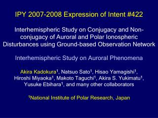 IPY 2007-2008 Expression of Intent #422