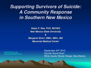 Supporting Survivors of Suicide:   A Community Response in Southern New Mexico