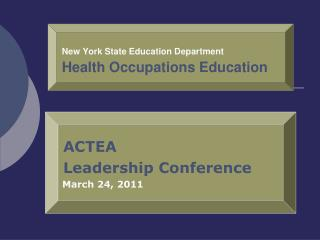 New York State Education Department Health Occupations Education