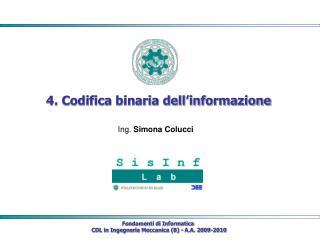 4. Codifica binaria dell informazione