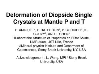 Deformation of Diopside Single Crystals at Mantle P and T