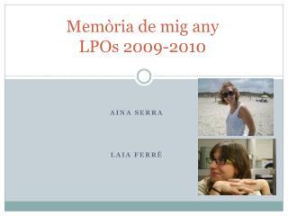 Memòria de mig any  LPOs 2009-2010