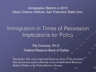 Immigration in Times of Recession Implications for Policy