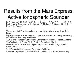 Results from the Mars Express Active Ionospheric Sounder