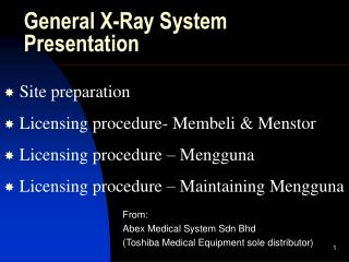 General X-Ray System Presentation
