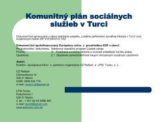 Komunitný plán sociálnych služieb v Turci