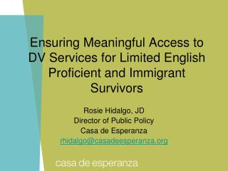 Ensuring Meaningful Access to DV Services for Limited English Proficient and Immigrant Survivors