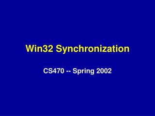 Win32 Synchronization