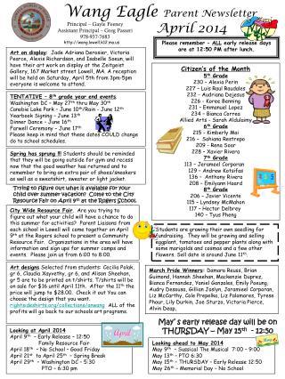 Wang Eagle  Parent Newsletter April 2014