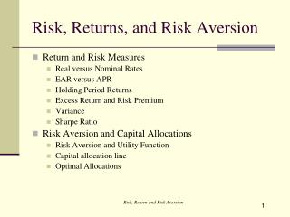 Risk, Returns, and Risk Aversion