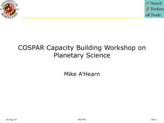 COSPAR Capacity Building Workshop on Planetary Science