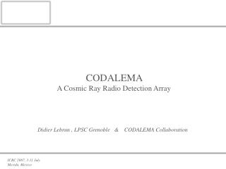 CODALEMA A Cosmic Ray Radio Detection Array