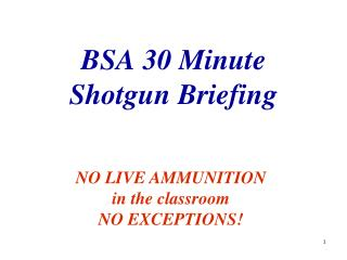 BSA 30 Minute Shotgun Briefing