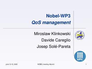 Nobel-WP3 QoS management