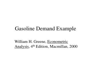 Gasoline Demand Example