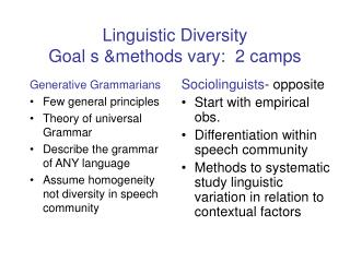 Linguistic Diversity Goal s methods vary:  2 camps