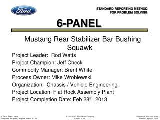 Mustang Rear Stabilizer Bar Bushing Squawk