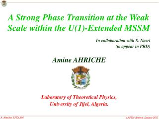 In collaboration with S. Nasri (to appear in PRD) Amine AHRICHE Laboratory of Theoretical Physics,