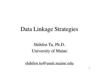 Data Linkage Strategies