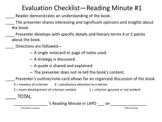 Evaluation Checklist—Reading Minute #1
