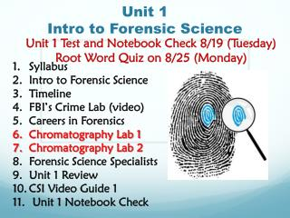 Unit 1  Intro to Forensic Science