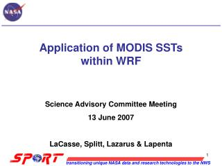 Application of MODIS SSTs within WRF