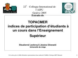 22° Colloque International de l'AIPU Genève 2005