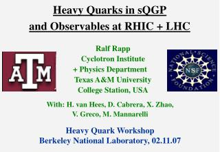 Heavy Quarks in sQGP and Observables at RHIC + LHC
