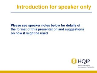 Introduction for speaker only