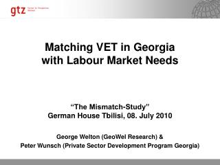 Matching VET in Georgia  with Labour Market Needs