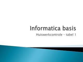 Informatica basis