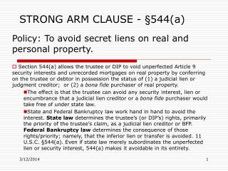 STRONG ARM CLAUSE -  544a