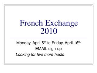 French Exchange 2010