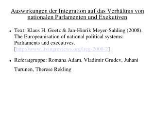Auswirkungen der Integration auf das Verhältnis von nationalen Parlamenten und Exekutiven