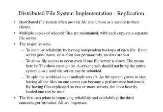 Distributed File System Implementation - Replication