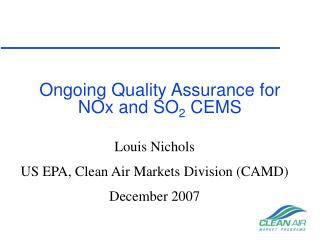 Ongoing Quality Assurance for NOx and SO2 CEMS
