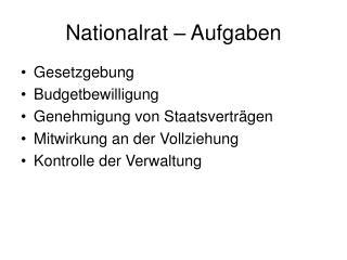 Nationalrat – Aufgaben
